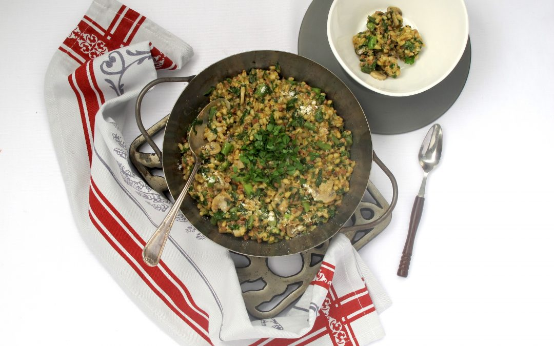 Baked Bacon Barley Risotto