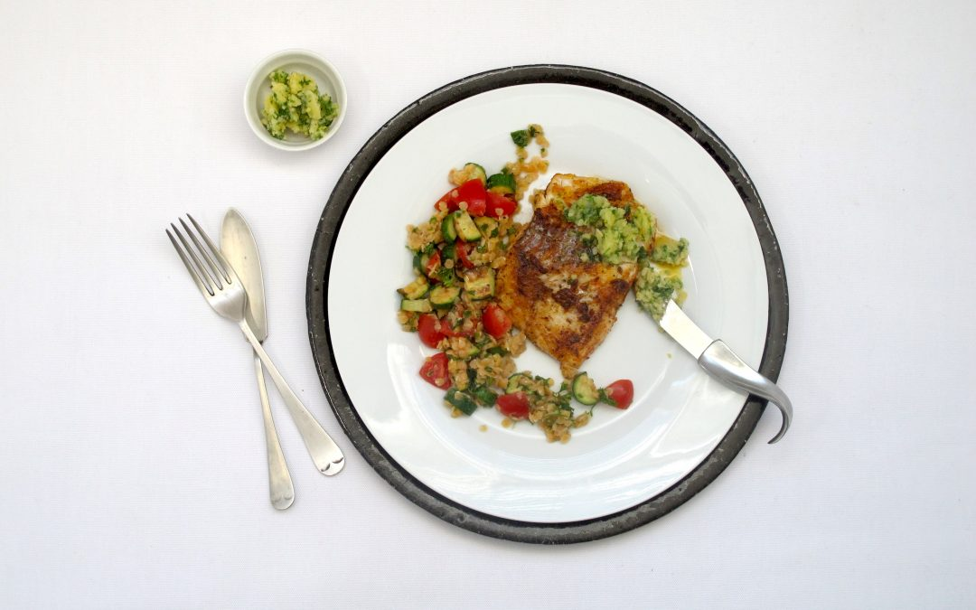 Lemony Hake with Red Lentil Salad