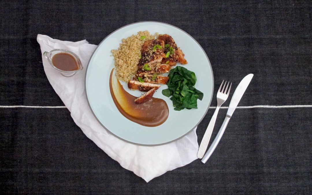 Pecan Crusted Chicken with Quinoa and Spinach