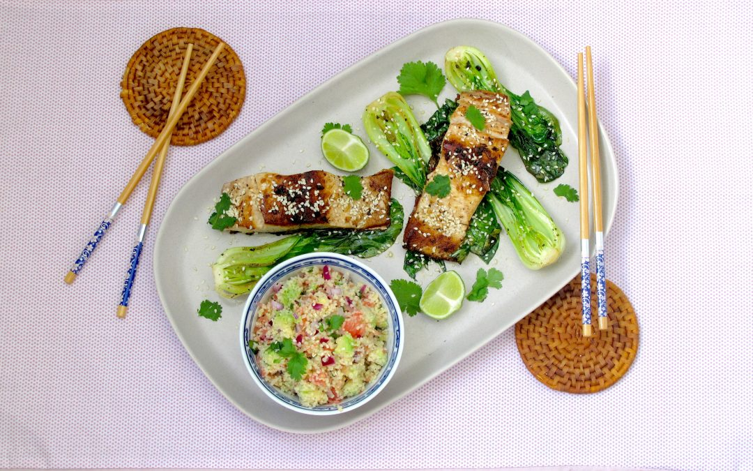 Yellowtail with Pak Choi and a Grapefruit-Avocado Couscous Salad