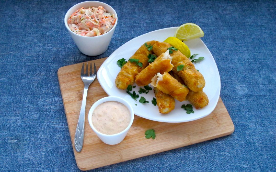 Homemade Fish Fingers with a Tangy Coleslaw