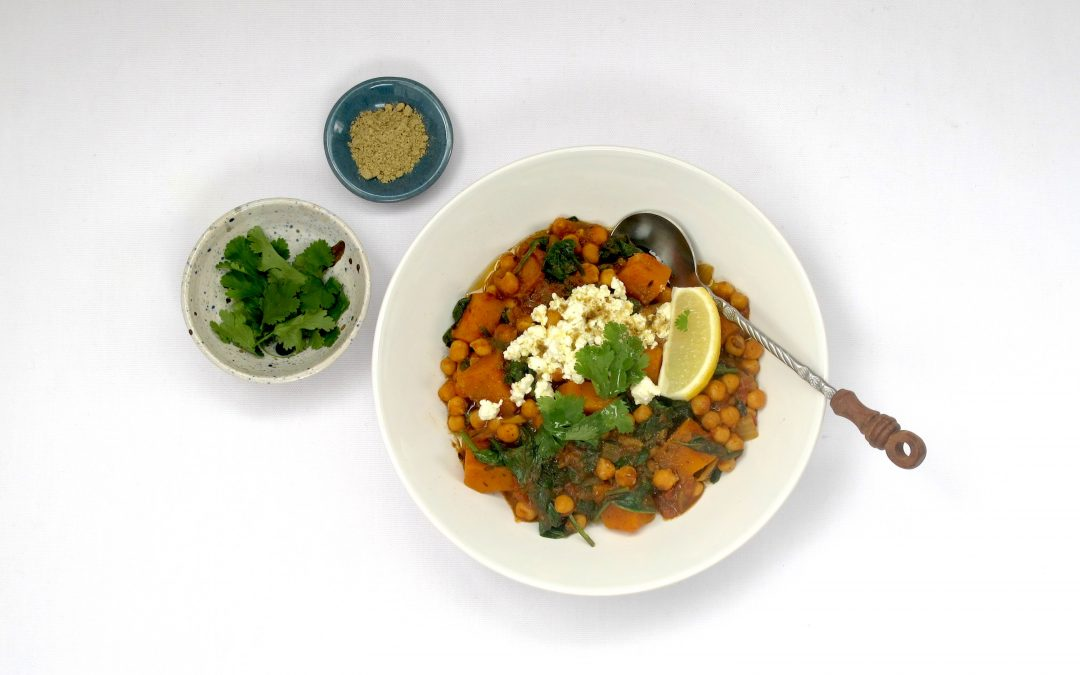 Moroccan Chickpea, Butternut & Spinach Stew
