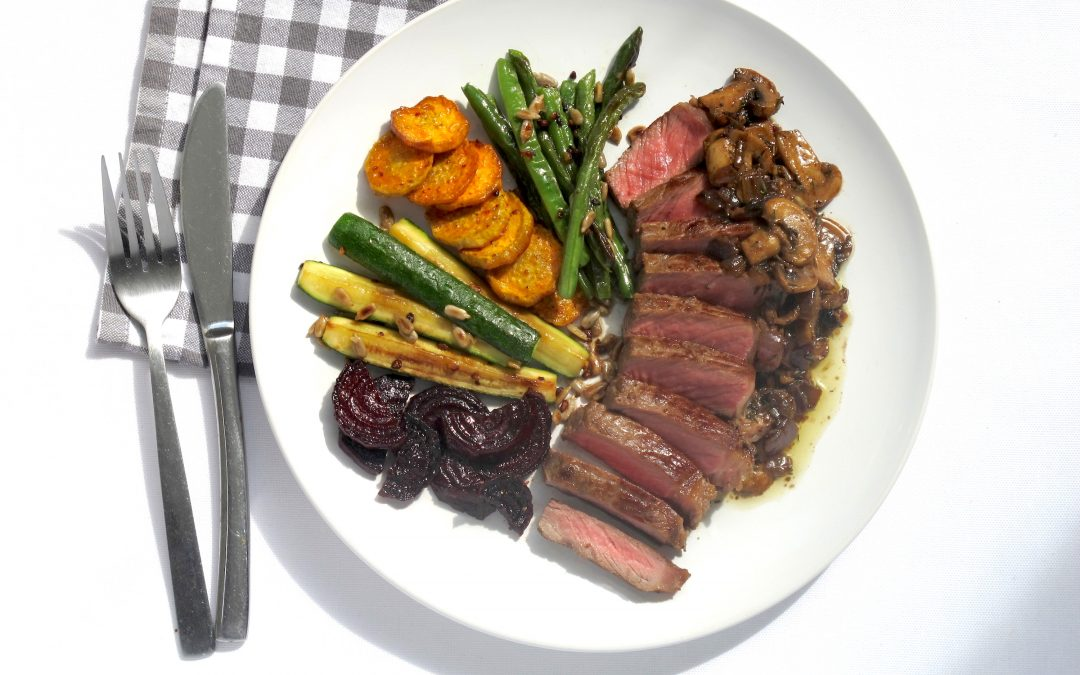 Sirloin Steaks with Roasted Veggies and Mushroom Sauce