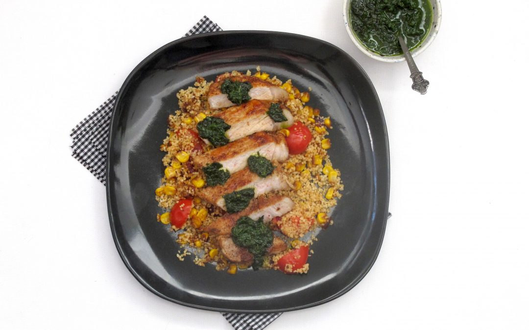 Pork Loin Steaks with Corn-Couscous and Chimichurri