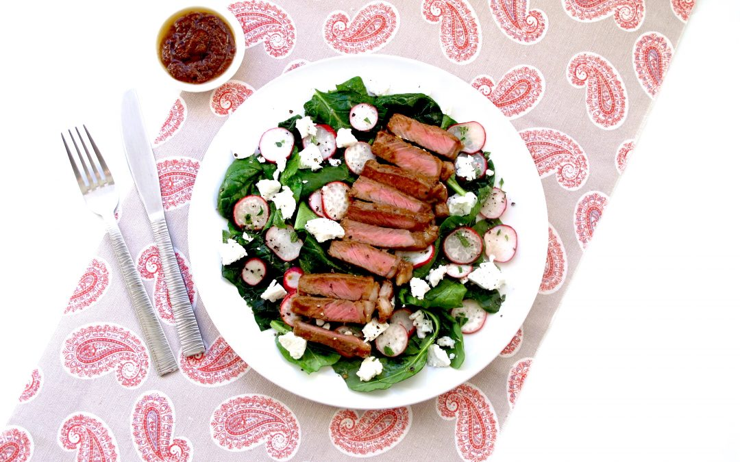 Miso Rump steak's with Goats cheese & pickled Radish