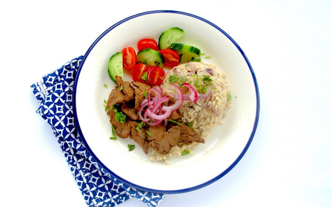 Vietnamese Pork with Coriander rice & a pickled onion salad