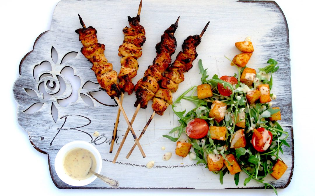 Honey-Mustard Chicken Kebabs with a Veg & Potato salad