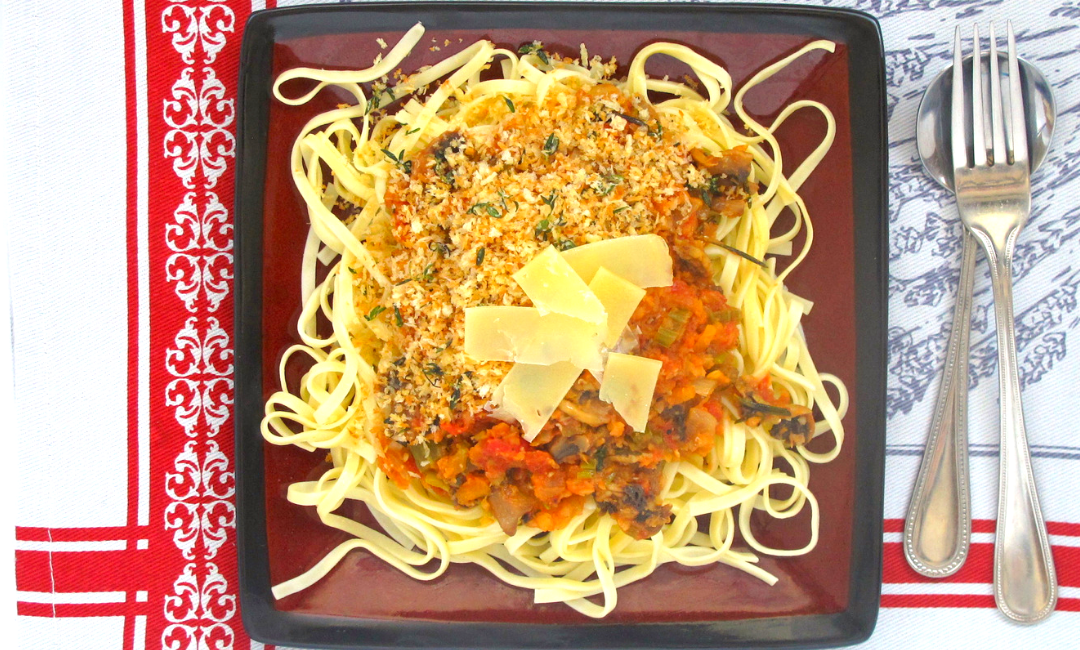 Vegetable Fettuccine with Herby Crumbs and Parmesan Ribbons
