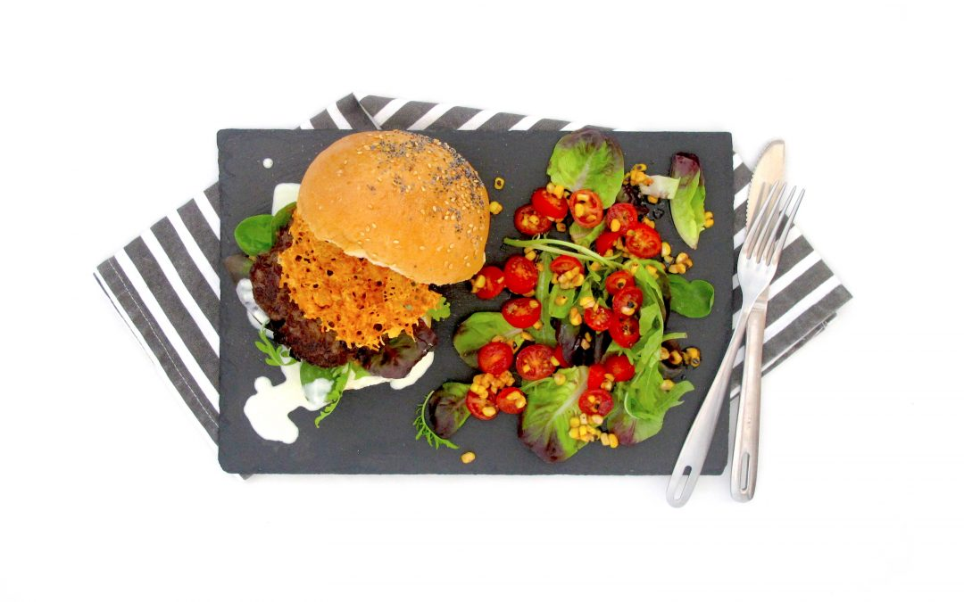 Beef Burger with Corn Salad & homemade Aioli