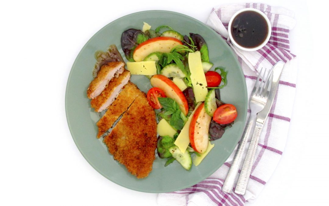 Classic Pork Schnitzel & Rainbow Apple Salad